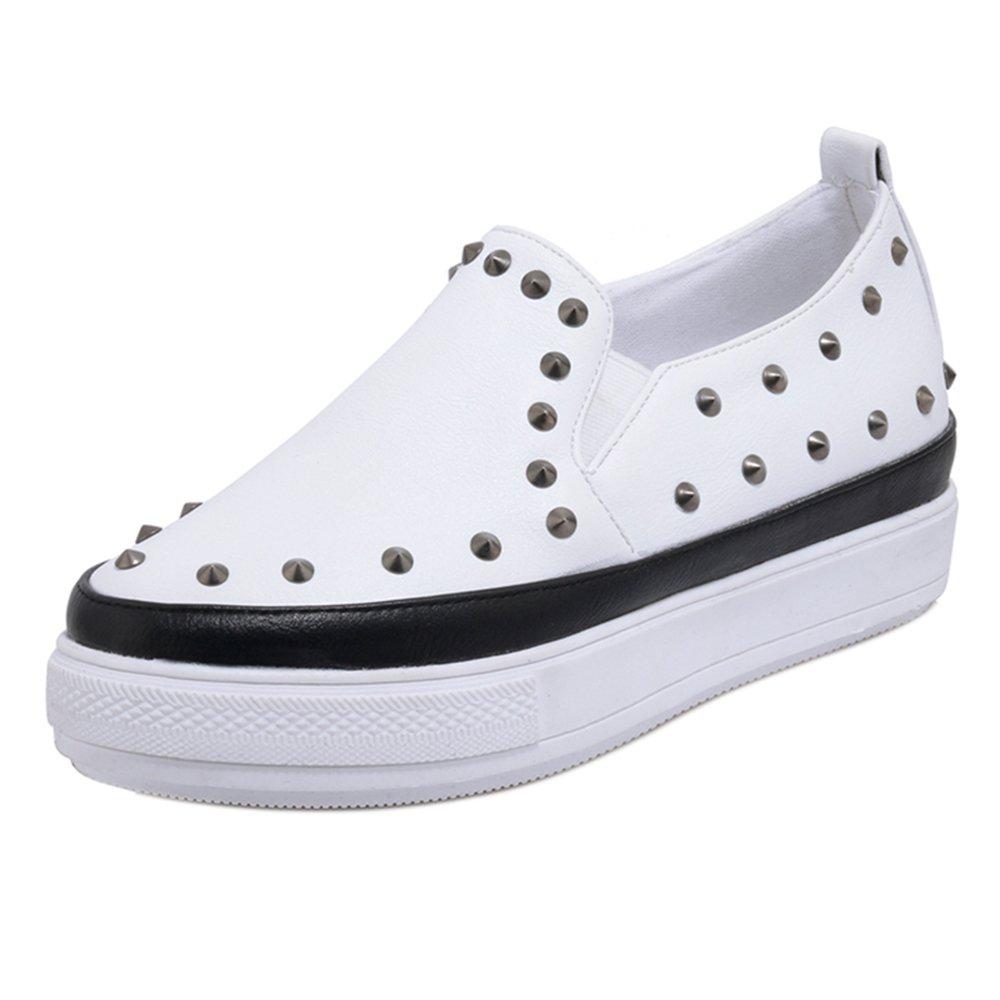 TAOFFEN Damen ohne Verschluss Flach Pumps Shoes Black