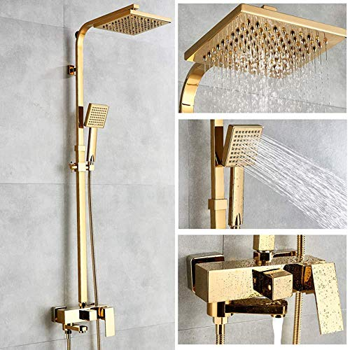PATNICK Shower System Bathtub Faucet Luxurious Gold-Colored Brass Mixer Tap Wall-Mounted Handshower Set ()