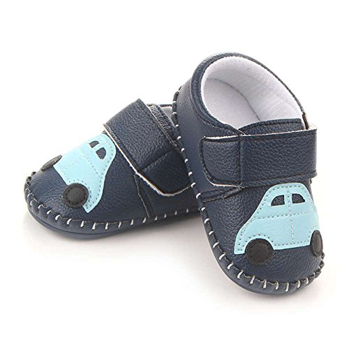 Lidiano Baby Non Slip Rubber Sole Cartoon Walking Slippers Crib Shoes Infant/Toddler (12-18 Months, Blue Car) - Image 3