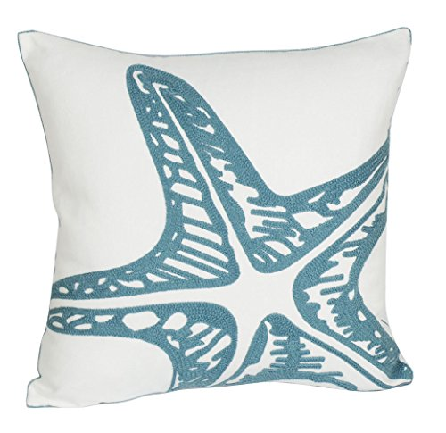 DECOPOW Embroidered Cute Nautical Animal Pillow Covers,Square 18 inch Decorative Canvas Pillow Cover for Nautical Style Deco by (Seagreen-Starfish)