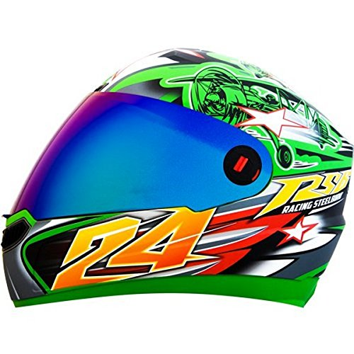 cf6a04ae Steelbird Men's ISI Certified Bargy Design Graphics Helmet - Hovering  Glossy Finish with rainbow Visor + Free extra transparent visor (L-600MM,  ...