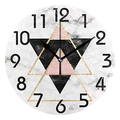 Clock Geometric - Naanle Stylish Minimal Geometric Marble with Triangles Print Round Wall Clock Decorative, 9.5 Inch Battery Operated Quartz Analog Quiet Desk Clock for Home,Office,School