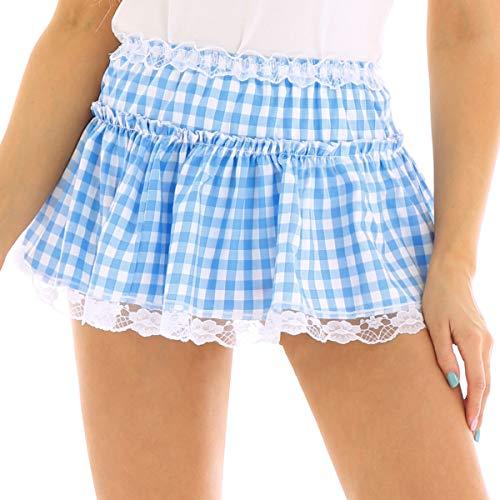zdhoor Men Woman Above Knee School Girl Plaid Mini Skirt High Waist Gingham Skirt Sissy Dress Light Blue X-Large