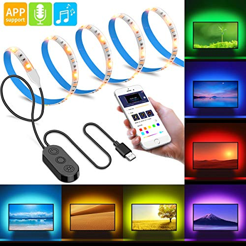 LED TV Backlight APP Control, Govee Music Sensor RGB LED Strip Lights 6.56FT for 40-60in TV, 20 Color Changing 5050 LEDs Accent Strip Lighting Waterproof TV Lights, USB Powered ()
