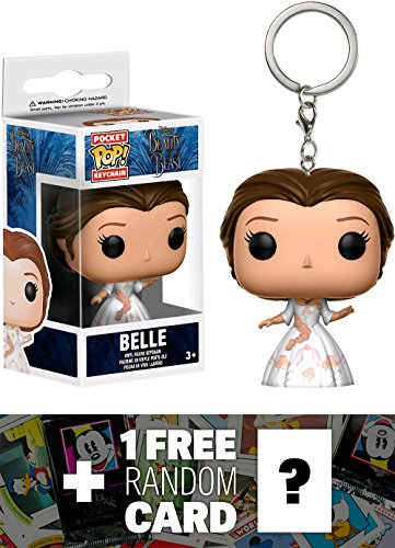 Belle (Celebration): Pocket POP! x Beauty & The Beast Mini-Figural Keychain + 1 FREE Classic Disney Trading Card Bundle (123976)