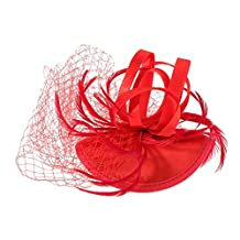 Flower Net Feathers Hat Fascinator Hair Pins Clips Wedding Ladies Day Race Royal Ascot - Red