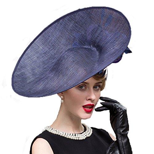 Dovaly Womens Fascinators Blue Large Brim Ladies Hat