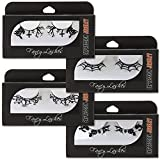 4 Pack of False Paper Eyelashes - Halloween Theme | Witches and Pumpkins, Graveyard, Spider Webs, Starry Night