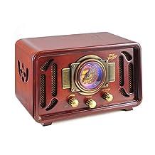 Pyle Audio PUNP34BT Vintage Retro Classic Style Bluetooth Radio Sound System, USB/SD Readers, AM/FM