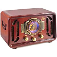 Pyle PUNP34BT Vintage Retro Classic Style Bluetooth Radio Sound System, USB/SD Readers, AM/FM Radio