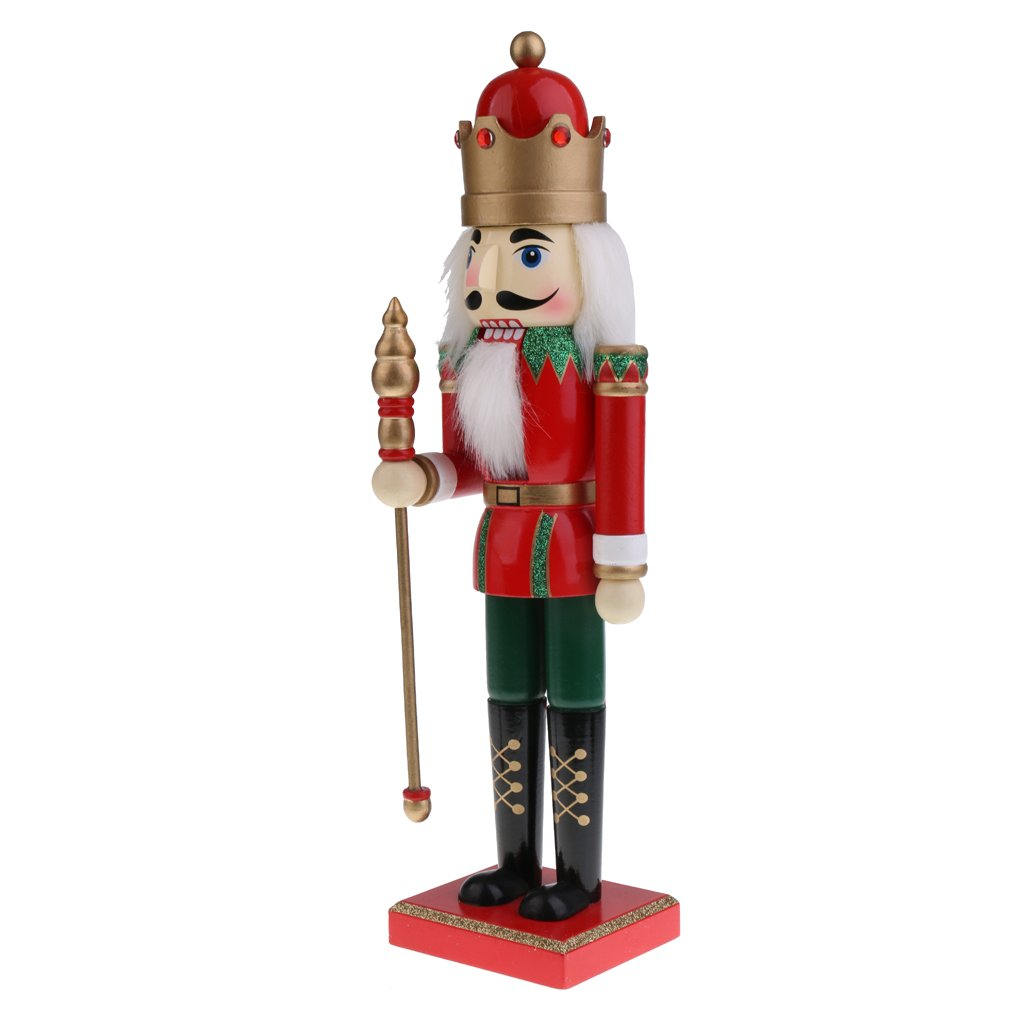 MonkeyJack 15Inch Height Handmade Wooden Prince Nutcracker Puppet Figure in Classical Suit Christmas Ornaments Red