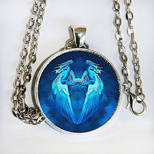 Blue Dragons glass domed pendant with ()