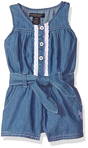 Eyelet Front Button - U.S. Polo Assn. Baby Girls Romper, Button Front Eyelet Trim Blue wash, 12M
