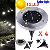LiPing 12 LED 4PCS Solar Ground Lights Outdoor, Wireless Solar Security Night Light Dusk to Dawn Solar Powered Path Lights for Home, Garden, Driveway, Patio, Yard (A)