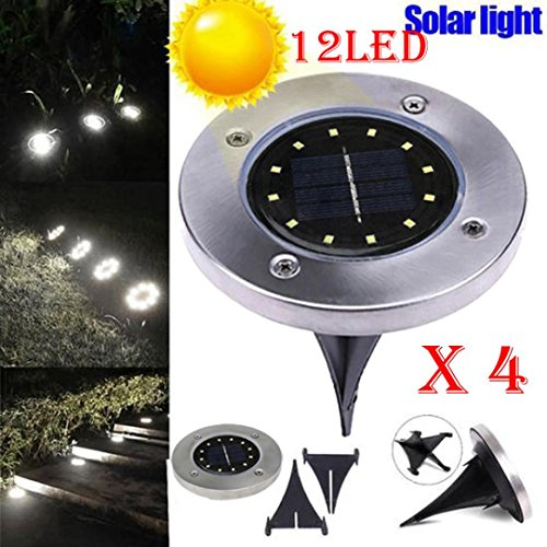 LiPing 12 LED 4PCS Solar Ground Lights Outdoor, Wireless Solar Security Night Light Dusk to Dawn Solar Powered Path Lights for Home, Garden, Driveway, Patio, Yard (A) by LiPing