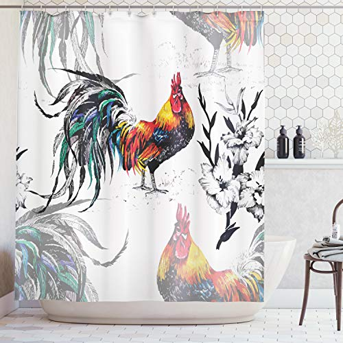 Ambesonne Gallos Decor Collection, Roosters Crowing Sound Silhouettes and Flowers Insect Butterfly Standing Plumage Art, Polyester Fabric Bathroom Shower Curtain Set, 75 Inches Long, Yellow Teal Blue ()