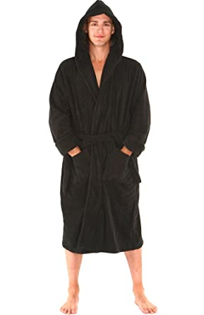 del rossa mens turkish terry cloth robe thick hooded bathrobe large xl black - Mens Bathrobes