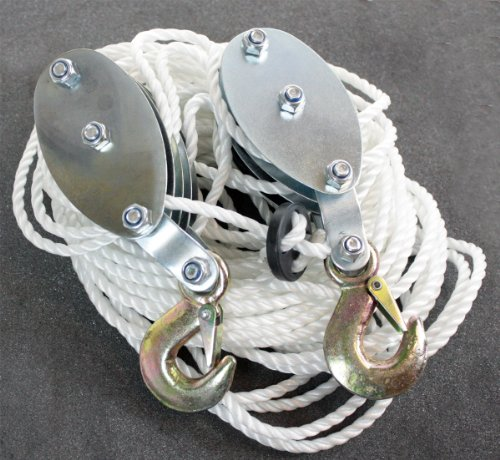 QuestCraft 2 Ton Poly Rope Hoist Pulley Wheel Block and Tackle Puller Lift Tools Lifter by QuestCraft