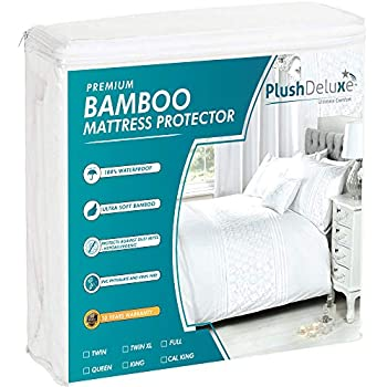 PlushDeluxe Premium Bamboo Mattress Protector - Waterproof, Hypoallergenic & Ultra Soft Breathable Bed Mattress Cover for Maximum Comfort & Protection - PVC, Phthalate & Vinyl-Free (Queen Size)