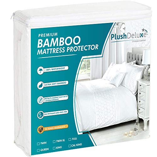 PlushDeluxe Premium Bamboo Mattress Protector – Waterproof, Hypoallergenic & Breathable Bed Mattress Cover for Maximum Comfort & Protection - PVC, Phthalate & Vinyl-Free (Queen Size)