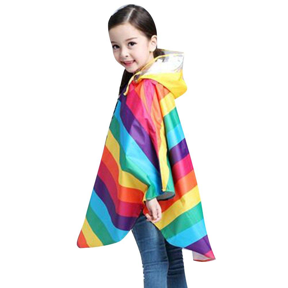 Bambini Pioggia Cappotto Unisex Bambina Semplice Giacca Antipioggia Impermeabile Poncho Arcobaleno/110-125cm hibote Network Technology Ltd