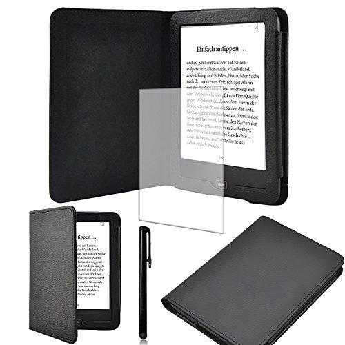 Schutz-Hülle-Tasche-Cover-Tolino-Vision-2 und 3-HD-Ebook-Case in Schwarz mit Ruhemodus und praktischem Magnetverschluss und passgenauer Display-Schutz-Folie Markenqualität und Pen von UC Express®