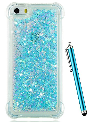 iPhone SE Case, iPhone 5S Case,iPhone 5 Case,CAIYUNL Clear Transparent TPU 3D Bling Glitter Sparkle Quicksand Cute Flowing Liquid Boy Girls Men Cover Shell &Stylus for iPhone SE/5/5S (Baby Blue) (Iphone 5s Case Elephant Wood)