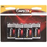 IMPECCA 9 Volt Batteries, All Purpose Alkaline Battery (6-Pack) High Performance, Long Lasting 9V Battery, Leak Resistant 6-Count 6LR61 - Platinum Series