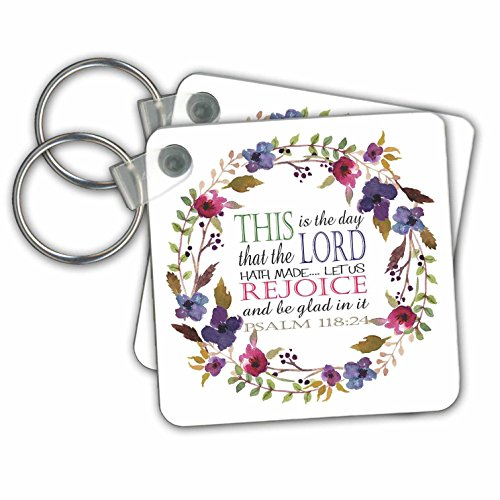 (TNMGraphics Scripture - Psalm 118 Floral Wreath This is the Day the Lord Has Made - Key Chains - set of 2 Key Chains)