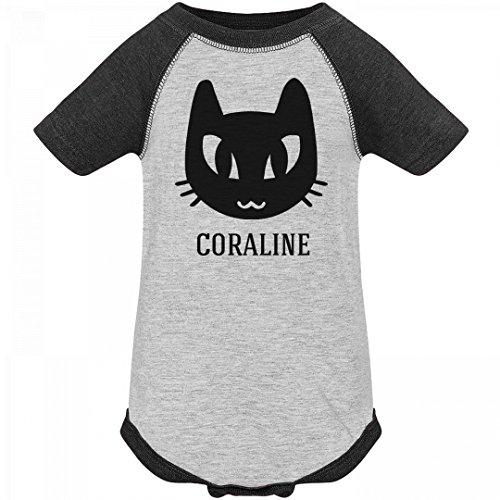 Coraline Costume For Kids (Baby Coraline Black Cat Halloween Costume: Infant Vintage Raglan Bodysuit)