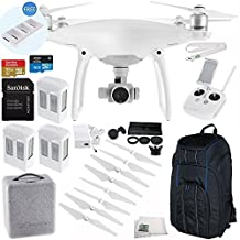 DJI Phantom 4 Quadcopter Drone with Manufacturer Accessories + 2 Extra DJI Intelligent Flight Batteries + SanDisk Extreme 32GB microSDHC Memory Card + 6PC Filter Kit (UV-CPL-ND2-400-Hood-Case) + MORE
