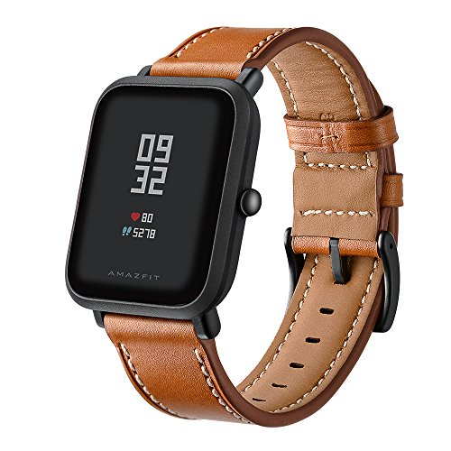 Kartice Compatible Amazfit Bip Band,Huami Amazfit Bip Bands Genuine Leather Strap Replacement Buckle Strap Wrist Band Compatible Amazfit Bip Smartwatch. (Brown) by Kartice
