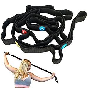 MDBuddy Stretch Strap with Loops to Increase Flexibility, Dynamic Stretching Tool for Athletes Including Dancers, Cheerleaders, Gymnasts, Runners, Pilates and Yoga Elastic Stretch Out Band