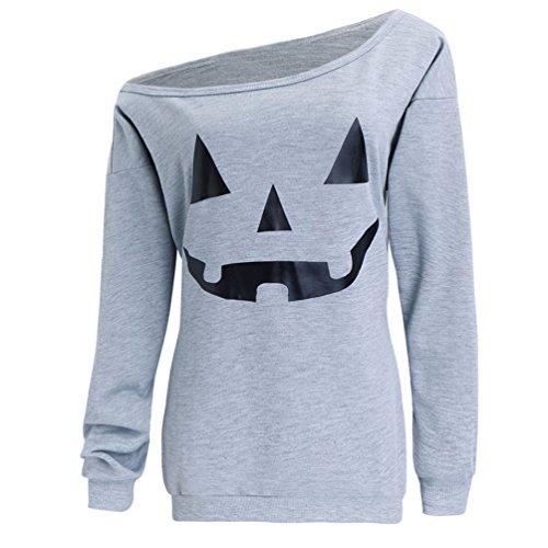 Dutebare Women Halloween Pumpkin Shirt Off Shoulder Sweatshirt Slouchy Long Sleeve Pullover Tops Light Grey C 2XL