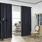 LinenZone Evelyn – Wall-To-Wall Extra Wide Embossed Blackout Grommet Curtain Panels With 2 Rope Tiebacks – Ideal for Window Decor or Room Divider (2 panels 108″ W x 99″ L each, Charcoal) Review