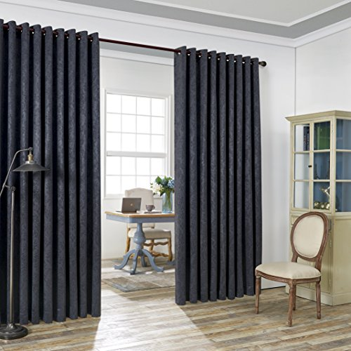 """LinenZone Evelyn - Wall-to-Wall Extra Wide Embossed Blackout Grommet Curtain Panels with 2 Rope Tiebacks - Ideal for Window Decor or Room Divider (2 Panels 108"""" W x 99"""" L Each, Charcoal)"""