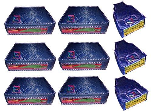 atorakushon® Parachute Combo Saree Cover and Blouse Cover Garments Wardrobe Organizer Set of 9  Blue