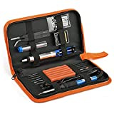 Soldering Iron Tool Kit, Kitclan Full Set 60W 110V Adjustable Temperature Welding Iron with Desoldering Pump, 5pcs Different Tips, Stand, Tweezers, Tin Wire Tube, 6pcs Aid Tools and Carry Case