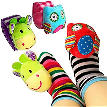 Lion and Panda ThinkMax Baby Wrist Rattles 4 Pieces Animal Soft Baby Socks Set Wrist Rattles and Foot Finders Infant Toys