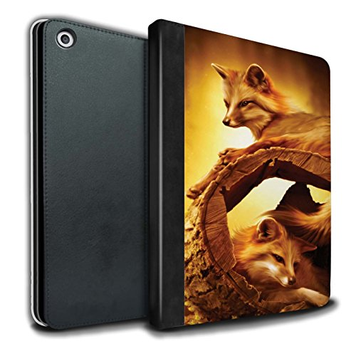 Official Elena Dudina PU Leather Book/Cover Case for Apple iPad 9.7 (2017) Tablets / Forest Shelter/Fox Design / The Animals Collection
