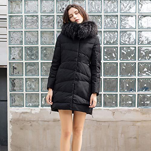 Invernale In Pelliccia Chiusura Con Cerniera Piumino Basic Cappotto Donna Black Da Collo Xcxdx p54qx