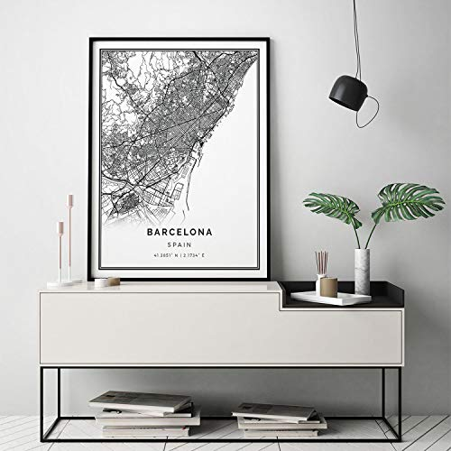 Arvier Barcelona map Print Scandinavian Wall Art Poster City maps Artwork Spain Gifts Map to Frame M618