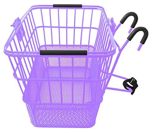 Mesh Bottom Lift-Off Basket w/ Bracket, - Bike Basket Purple