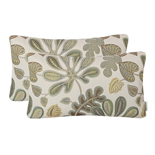 Decorative Gold Stitch Design - Mika Home Set of 2 Jacquard Tropical Leaf Pattern Oblong Throw Pillow Covers Accent Pillowcase 12X20 Inches,Green Cream