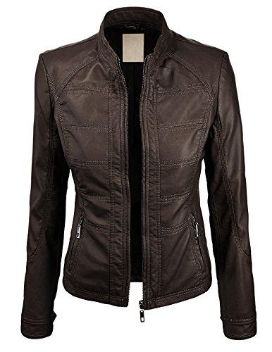 LL Womens Panelling Faux Leather Biker Jacket XS COFFEE