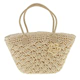 Generic Trendy Magazine Style Woven Gold Line Shell Bag Crochet Knitted Straw Bags - white