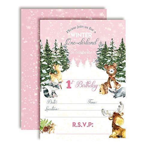 Woodland Winter Wonderland One-derland First Birthday Party Invitations for Girls, 20 5