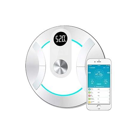 L&L Balance électronique Báscula de Grasa Corporal Bluetooth con balanza Redonda de baño Inteligente inalámbrica iOS