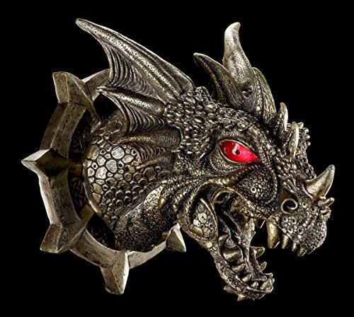 Drachen Schädel Wand Deko mit LED Augen - Figur Kopf Fantasy Drachenfigur