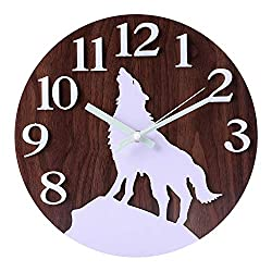 Kesin Night Light Function Wooden Wall Clock,12-Inch Silent Non-Ticking Quartz Rustic Decorative Lighted Wall Clock Battery Operated for Indoor/Home/Kitchen/Bed Room/Garage (Brown)